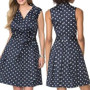 Chaps Women's Polka-Dot Sateen Sleeveless Dress 10